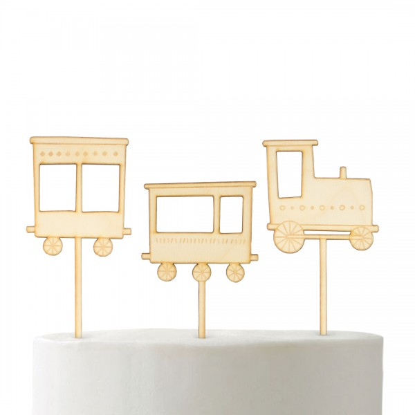 """Set """"Eisenbahn"""" Cake Topper mit drei Cake Toppern Eisenbahn auf Kuchen"""