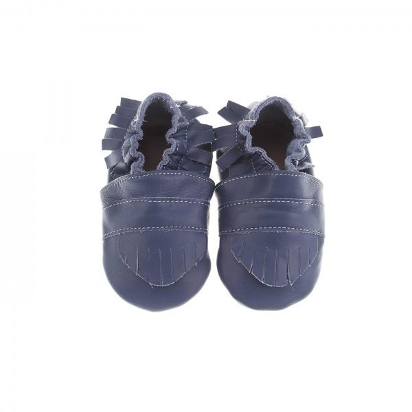 Babyschuhe Leder Fransenlook - dunkelblau