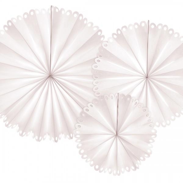 Papierrosetten in verschiedenen Größen mit Spitzenrand