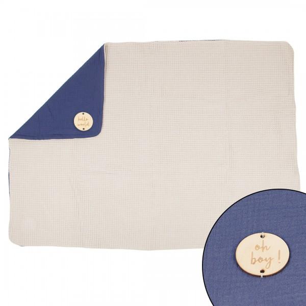 Babydecke Kuschelzeit, personalisierbar in den Farben Grau und Blau Gesamtansicht