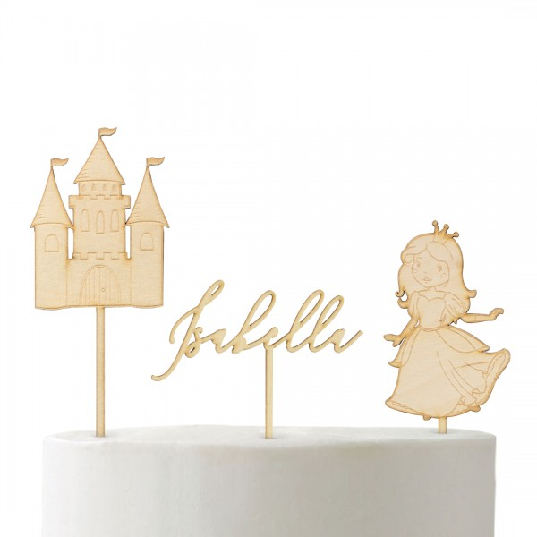 Cake Topper Set Märchenland bestehend aus Schloss, Prinzessin und Wunschname Kalligraphie