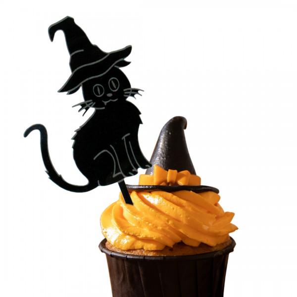 Cake Topper Katze mit Hexenhut auf Muffin