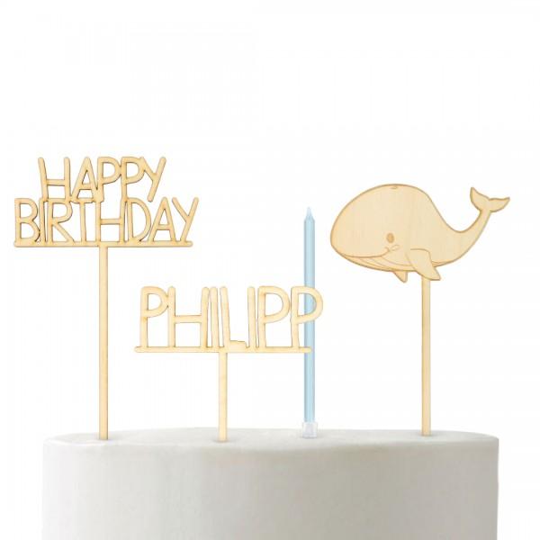 """Cake Topper Set """"Wal"""" bestehend aus Wal, Happy Birthday, Wunschname groß und Kerzen"""