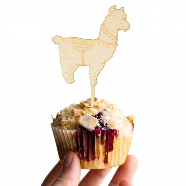 Cake Topper Lama aus Holz auf Muffin