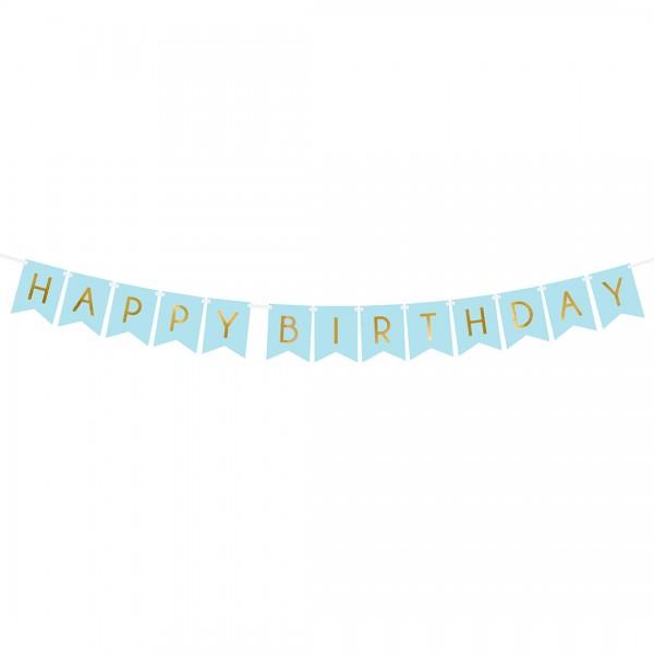 Happy Birthday Banner Blau mit goldener Aufschrift