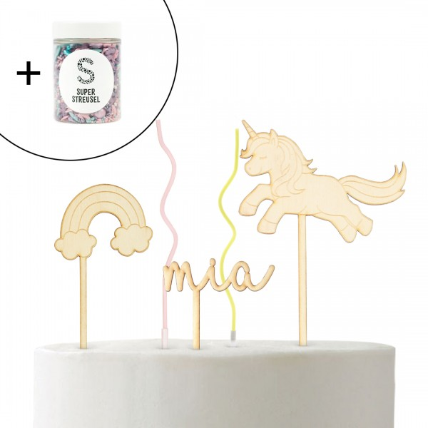 Set mit Cake Topper Regenbogen klein, Wunschname Schreibschrift klein, Einhorn Springend und Super Streusel Rosa.