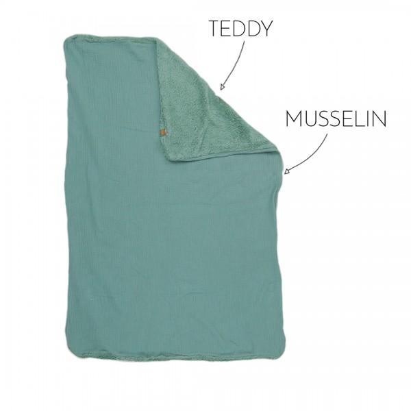 Babydecke Wunschfarbe, Kombination aus Teddy-Stoff in Pistazie und pistaziengrünem Musselin