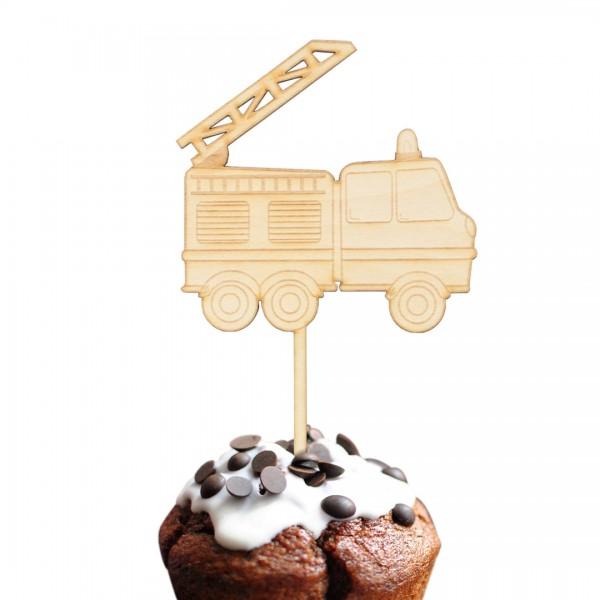 Cake Topper Feuerwehrauto aus Holz auf Muffin