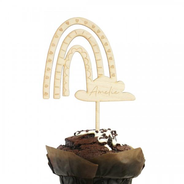 Cake Topper | Regenbogen | Boho | Wunschname in einem Schoko-Muffin