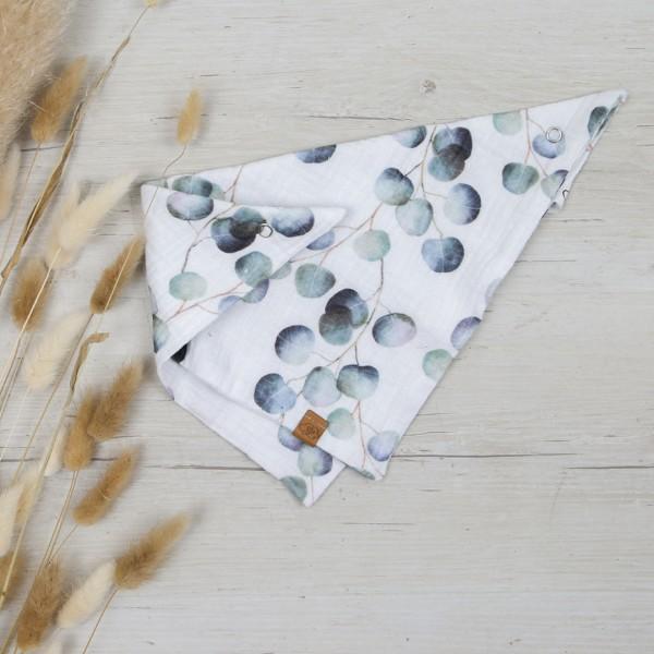 Musselin Dreieckstuch Eukalyptus - weiß / pistazie mit Druckknopf