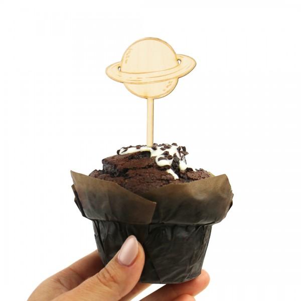 Cake Topper Planet aus Holz auf Muffin
