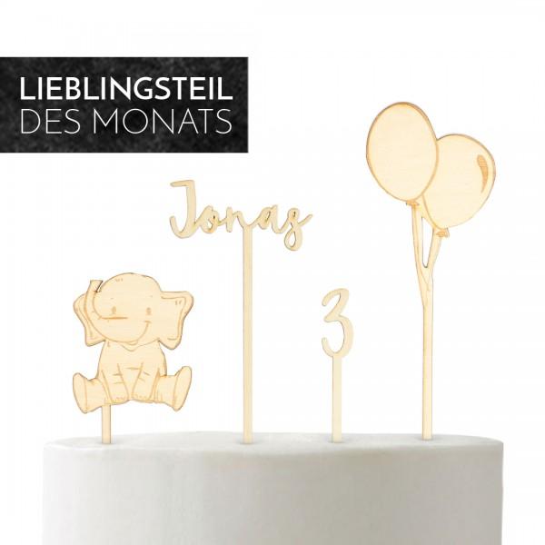 Set bestehend aus Elefant, Name, Zahl und Luftballon- Cake Topper