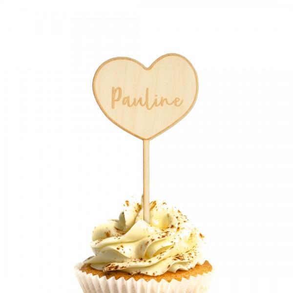 Cake Topper Herz auf einem Muffin