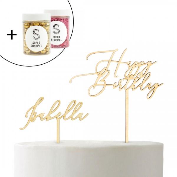 Set mit Cake Topper Wunschname Kalligraphie, Happy Birthday Kalligraphie und Super Streusel Goldstück und Pinke Super Streusel.