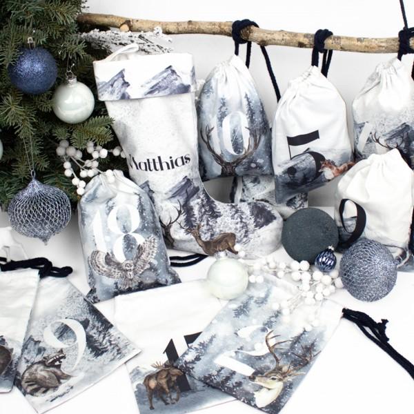 Adventskalender Eiszeit XXL 1-24, bedruckt mit winterlichen Waldtieres