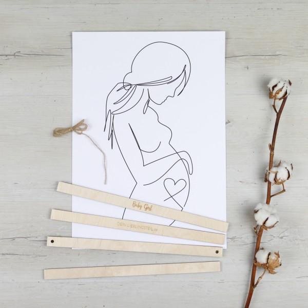 Bilderleisten oben und unten mit Schnur und Line Drawing einer Schwangeren auf Holzboden