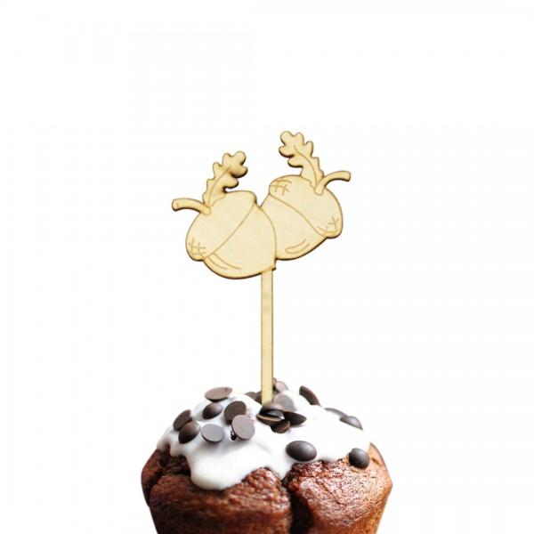 Eicheln Cake Topper auf Muffin