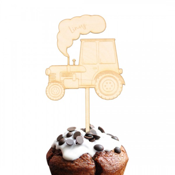 Cake Topper Traktor Wunschname aus Holz auf Muffin