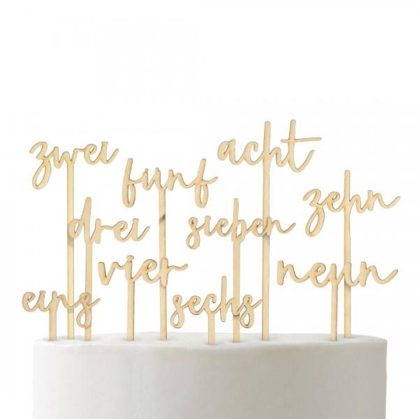 Cake Topper - Zahlen Set 1-10 - alphabetisch