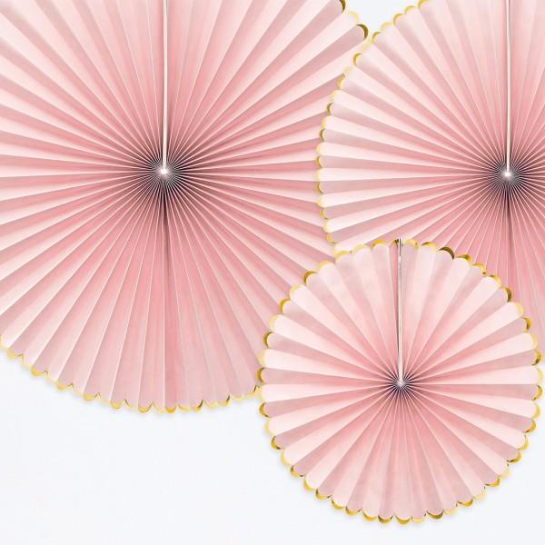 Papierrosette in Rosa mit Goldrand, verschiedene Formate