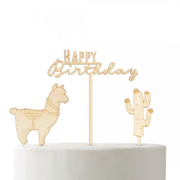 Cake Topper Set Lama-Party mit Lama, Kaktus und Happy Birthday auf Kuchen
