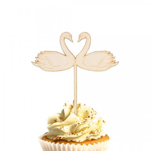 Cake Topper Schwäne, die Herz bilden, aus Holz auf Muffin