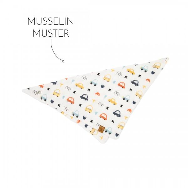 Dreieckstuch mit Druckknopf aus Musselin mit Muster, hier mini-cars