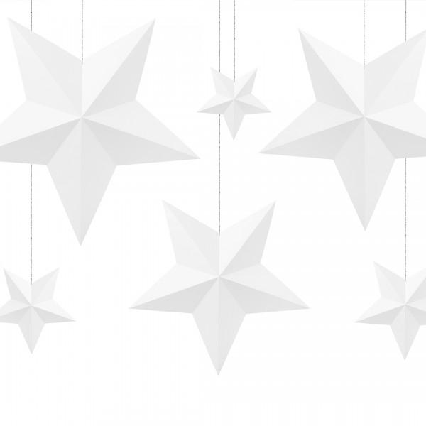 Deko-Sterne   Party Deko   Weiß 6 Stk., alle Sterne hängend präsentiert