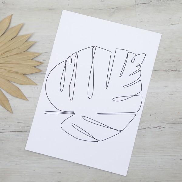 Line Art – Kunstdruck – Monstera Blatt