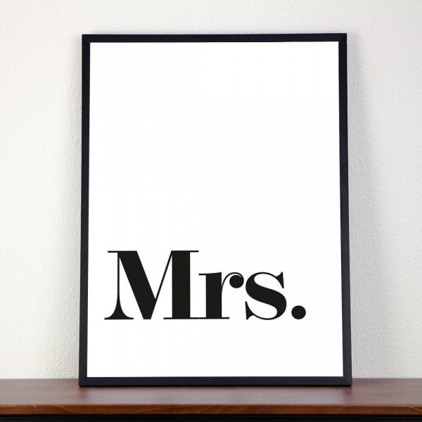 Kunstdruck | Typographie | Mrs. in einem Bilderrahmen