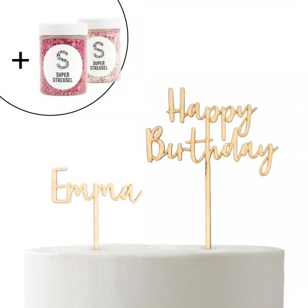Set mit Cake Topper Happy Birthday verspielt, Wunschname Schnörkel und Super Streusel Pink und Zuckerschnute.