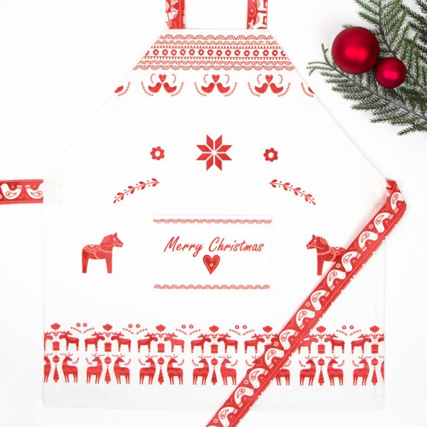 Kinderschürze Scandi Christmas mit wunderschönem roten weihnachtlichen Aufdruck