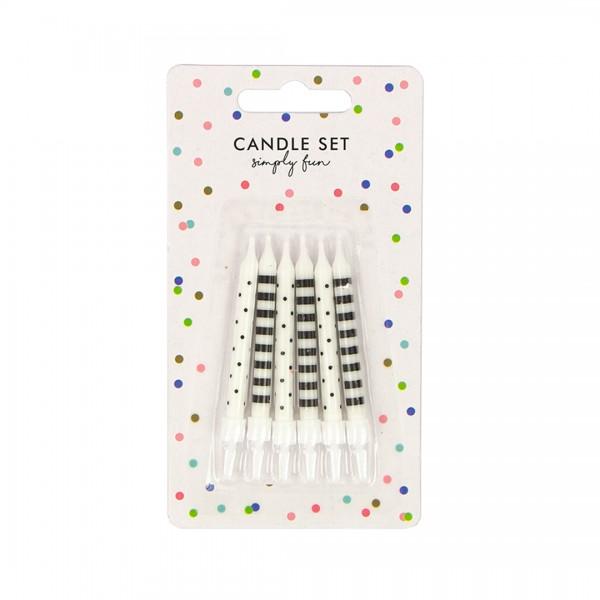 Geburtstagskerzen – Party Deko – Dots & Stripes 6,5 cm 6 Stk. in schwarz und weiß mit Halterung in Verpackung