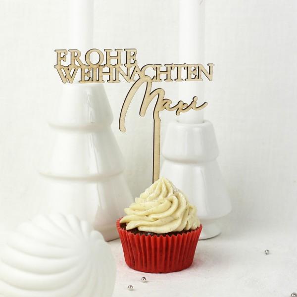 Cake Topper Frohe Weihnachten auf weihnachtlichem Muffin