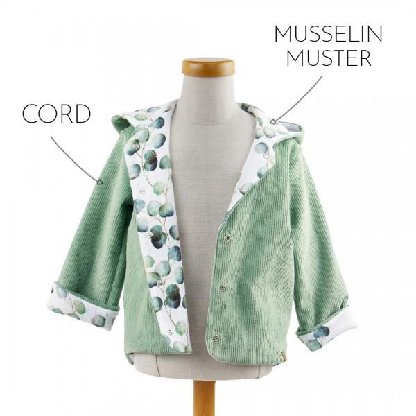 Deine Cordjacke - Wunschkombi Muster, Kombination aus Mint-Cord und Eukalyptus-Musselin