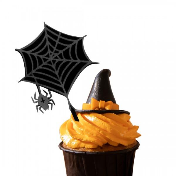 Cake Topper Spinnennetz auf Muffin