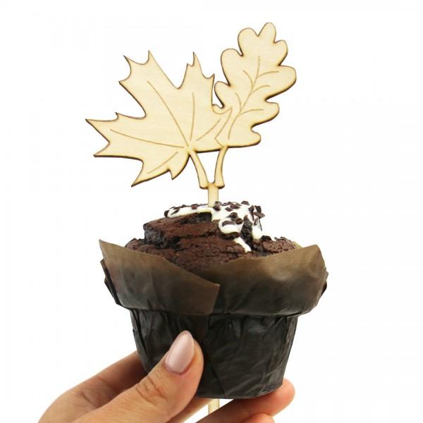 """Cake Topper """"Blätter"""" auf Muffin"""