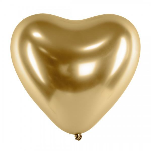 Ballons - Party Deko – Herzen Gold glänzend 30 cm 50 Stk. Detail