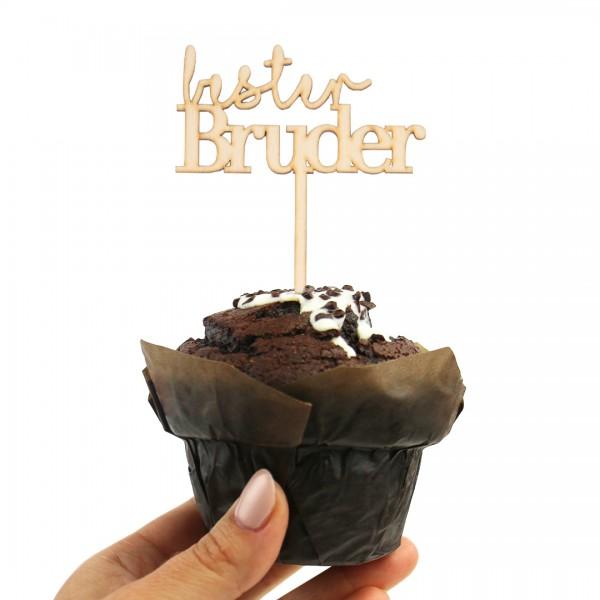 Cake Topper Bester Bruder aus Holz auf Muffin