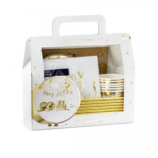 Party Dekoset in Gold mit 60 Teilen in Verpackung