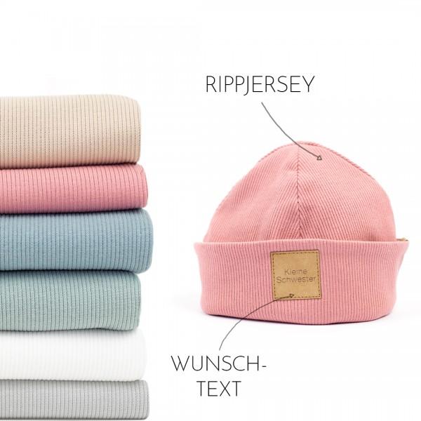 Mütze   Rippjersey   Wunschfarbe & Wunschtext