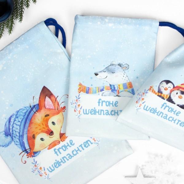 """3er Set Geschenkbeutel """"Winterfriends"""" mit winterlichem Fuchs, Eisbär und Pinguinen"""