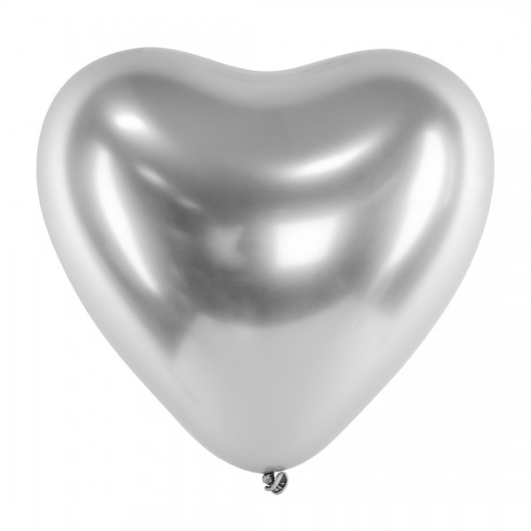 Ballons - Party Deko – Herzen Silber glänzend 30 cm 50 Stk. Detail