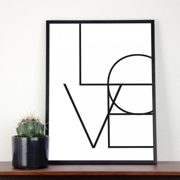 Kunstdruck | Typographie | Love - in einem Bilderrahmen