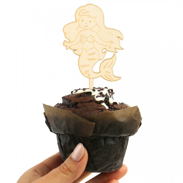 Cake-Topper Meerjungfrau aus Holz auf Muffin
