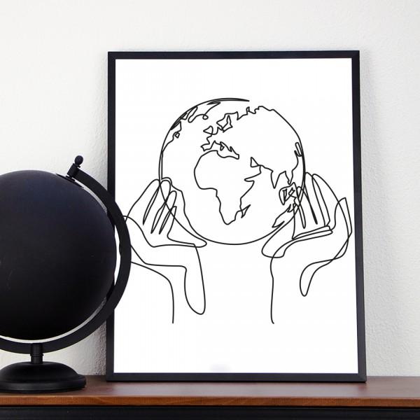 Line Art – Kunstdruck – Welt in Händen
