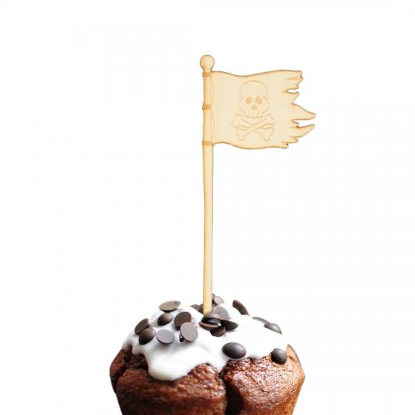 Cake Topper Piraten | Flagge mit einem Totenkopf auf einem Muffin