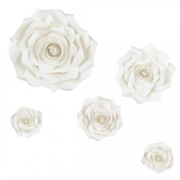 Übersicht über die verschiedenen Größen der Papierblumen