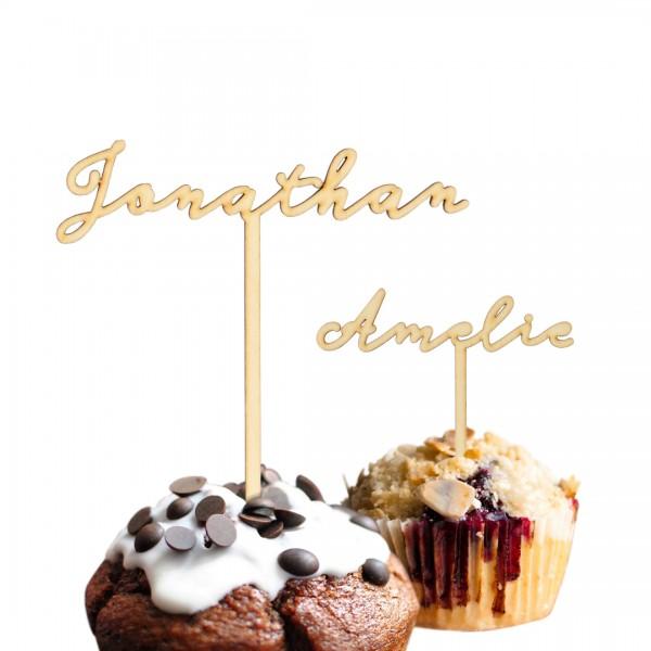 Cake Topper Wunschname geschwungen auf Muffins
