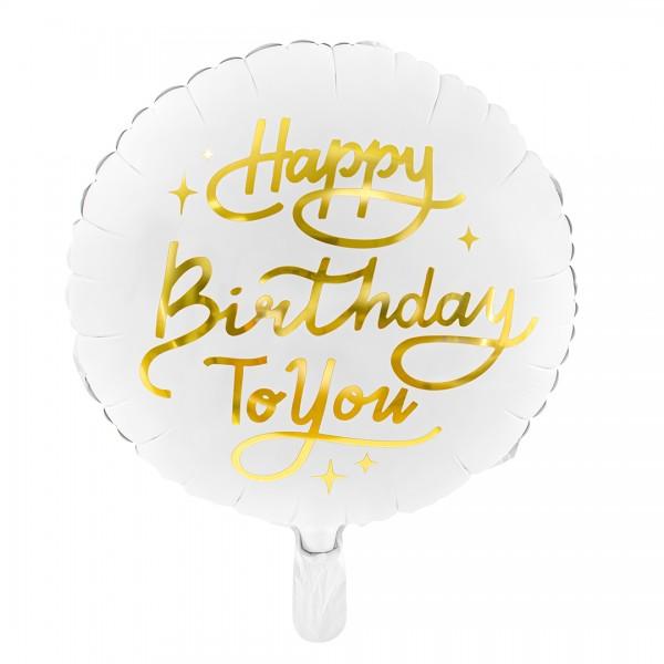 Folienballon – Party Deko - Happy Birthday to you Weiß 35 cm Detail